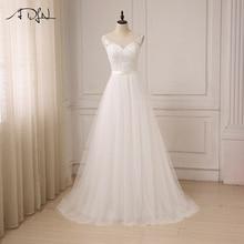 ADLN Ny Ankomst Billiga Bröllopsklänningar O-Neck Lace Tulle Boho Sommarstrand Brudklänning Bohemiska Bröllopsklänningar Robe De Mariage