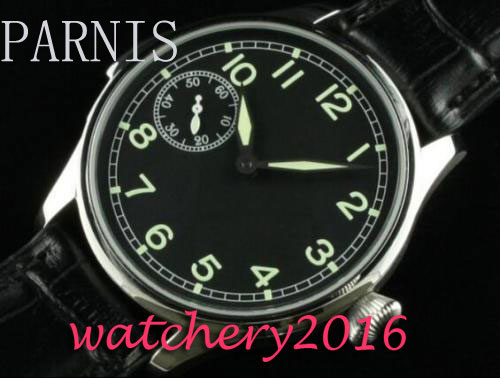 44mm Parnis black dial Green Luminous Number Stainless steel case 17 jewels 6497 Hand Winding Mechanical Mens Wristwatches 44mm black sterile dial green marks relojes 6497 mens mechanical hand winding watch luminous armbanduhr cm164bk