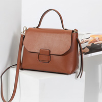 Ellacey Luxury Women Genuine Leather Handbag Classic Casual Women Bag Designer Doctor Bag Vintage Shoulder Crossbody Bag