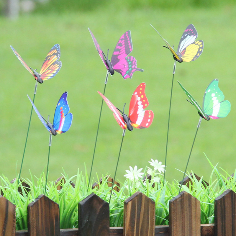50Pcs 7CM Colorful 3D Single Layer Butterfly On Sticks Home Yard Lawn Flowerpot Plant Decoration Garden Ornament DIY Lawn Craft