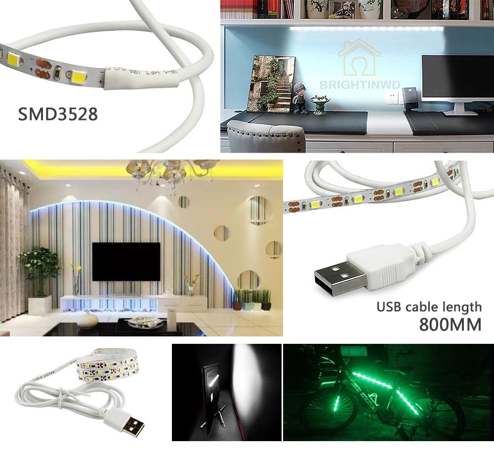 5V TV fona apgaismojums USB LED sloksne SMD3528 apgaismojums 50M 1M - LED Apgaismojums - Foto 5