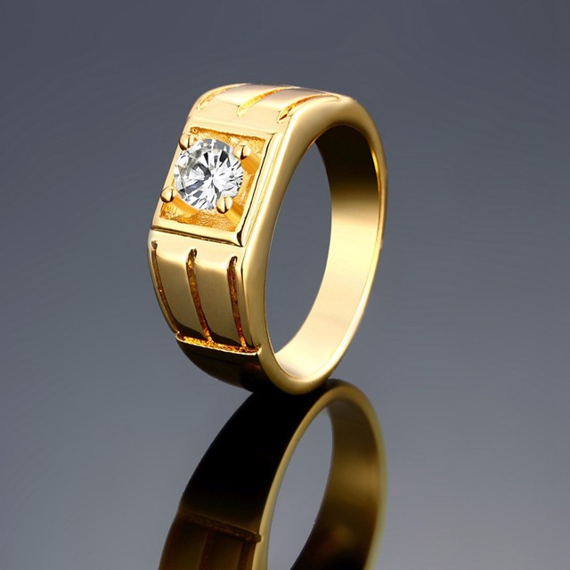 MEGREZEN Gold Color Ring Stone Men Cubic Zirconia Engagement Ring