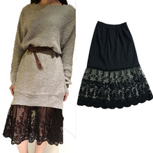 lace Half Slip Underskirt Women Slip Extend Petticoat mesh Transparent Skirt Lady Lace Slips Sexy lingerie femme Extender A Line