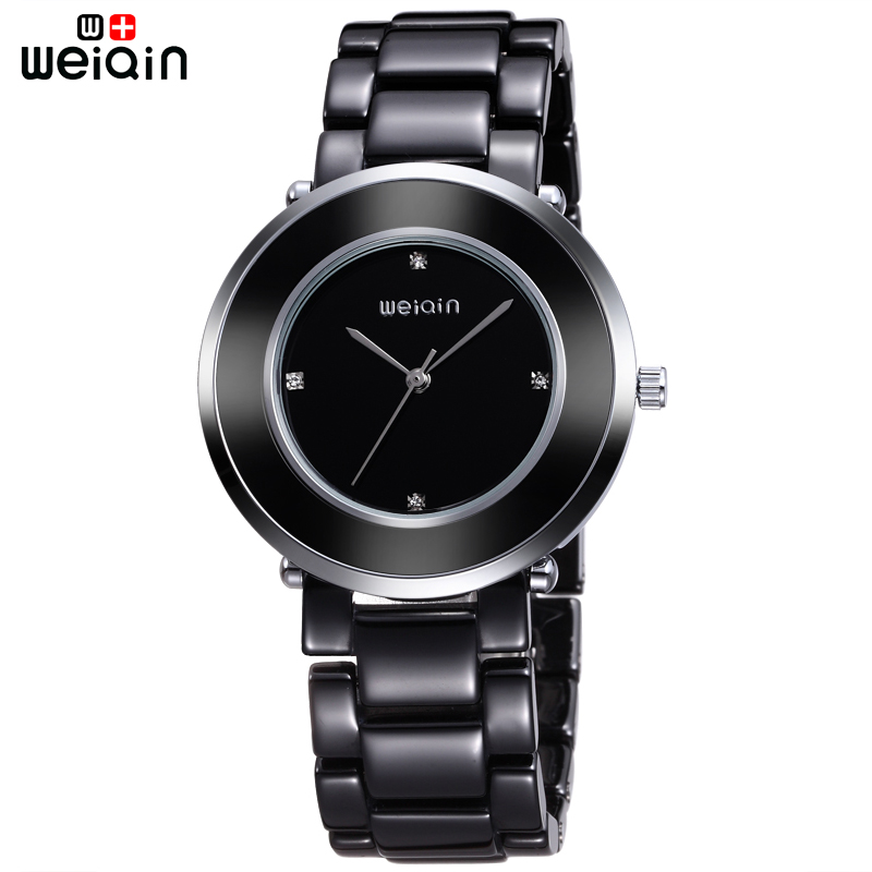 WEIQIN100% Ceramic Band High Quality Black Ladies Watches Office Casual Women Watch Dress Luxury Crystal Diamond Bayan Kol Saati 2016 women diamond watches steel band vintage bracelet watch high quality ladies quartz watch