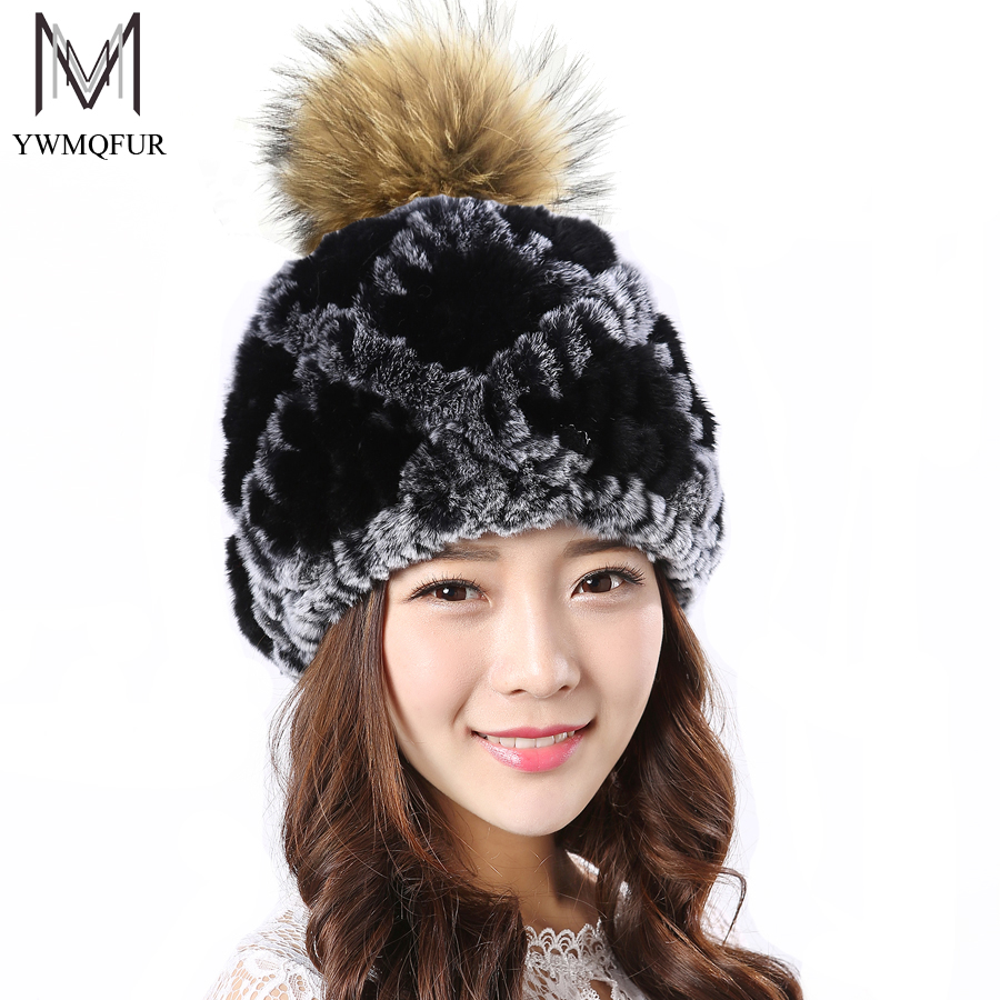 YWMQFUR New Hats For Women Genuine Rex Rabbit Fur Beanies Winter Thick Warm Knitted Cap With Raccoon Ball Female Fur Beanies H58 4pcs new for ball uff bes m18mg noc80b s04g