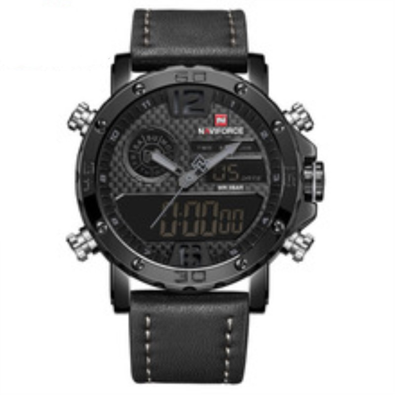 все цены на 2018 Watches Mens Top Brand Luxury Military Army Leather Band Analog LED Quartz Male Clock New Men Digital Sport Watch NAVIFORCE