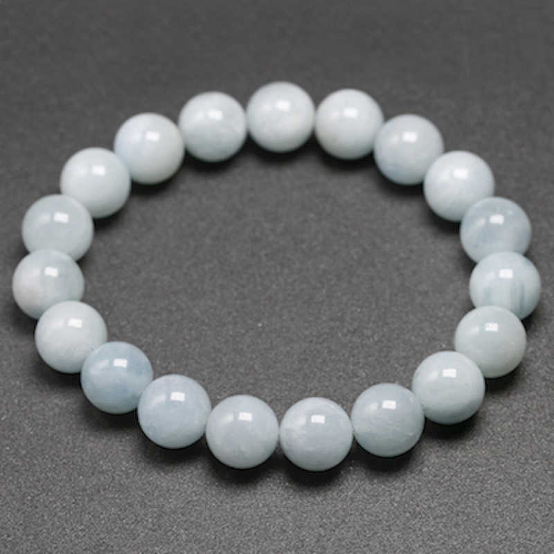 Natural Aquamarine Bracelet Single Circle Bracelet Men Women Jewelry 6 8 10mm Beads Romantic Casual Gemstone Yoga Bracelet