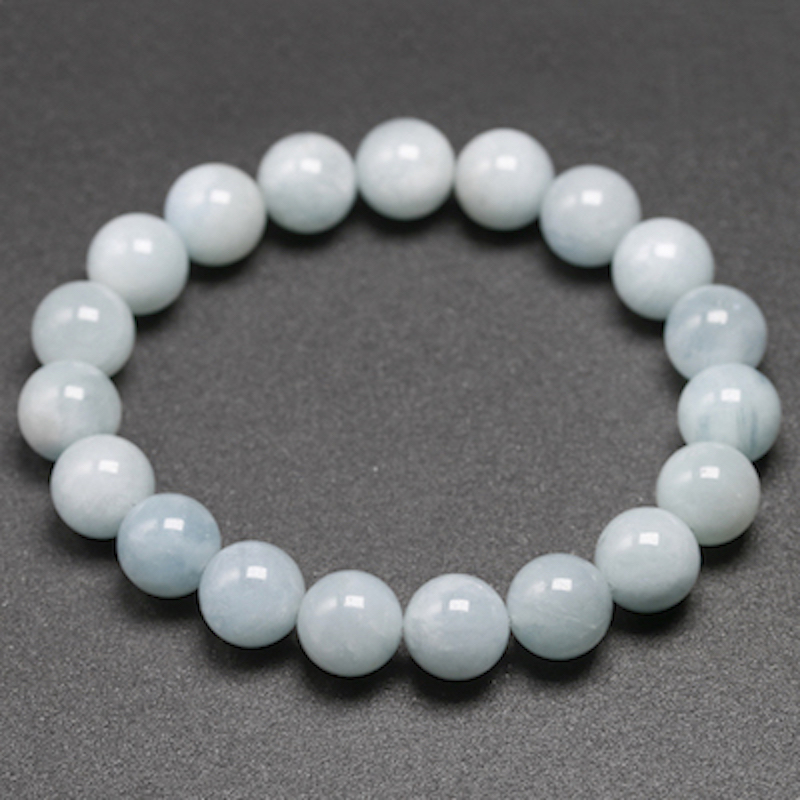Natural Aquamarine Bracelet Single Circle Bracelet Men Women Jewelry 6 8 10mm Beads Romantic Casual Gemstone Yoga Bracelet