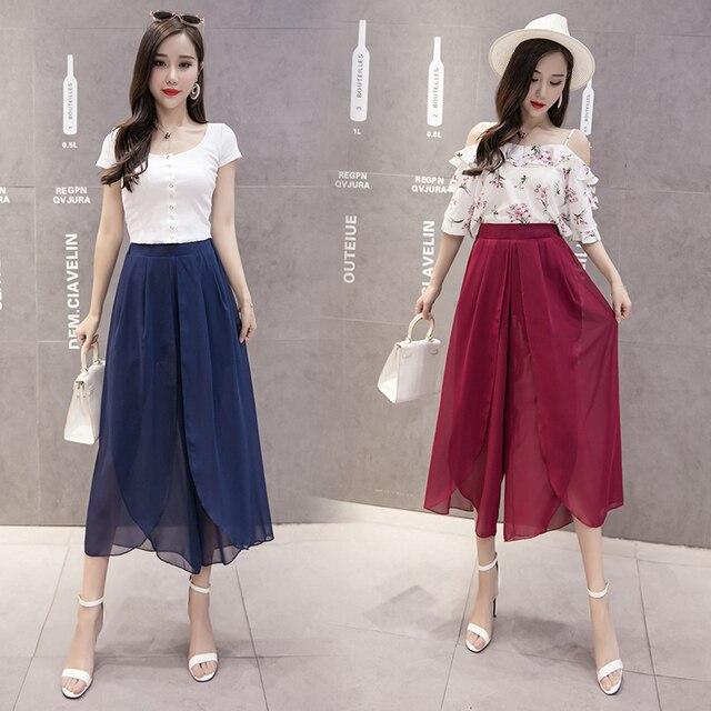 Плиссированные Широкие штаны Высокая Талия шифон Брюки Для женщин богемный Широкие штаны шифон женский Pantalon Большие размеры M-5XL
