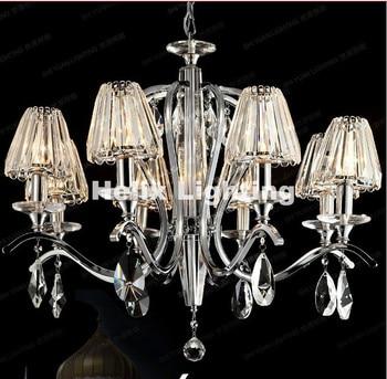 Modern Chrome 8 Bulbs European Candle K9 Clear Crystal Chandeliers Ceiling Living Room Modern E14 LED AC Wholesale Chandelier