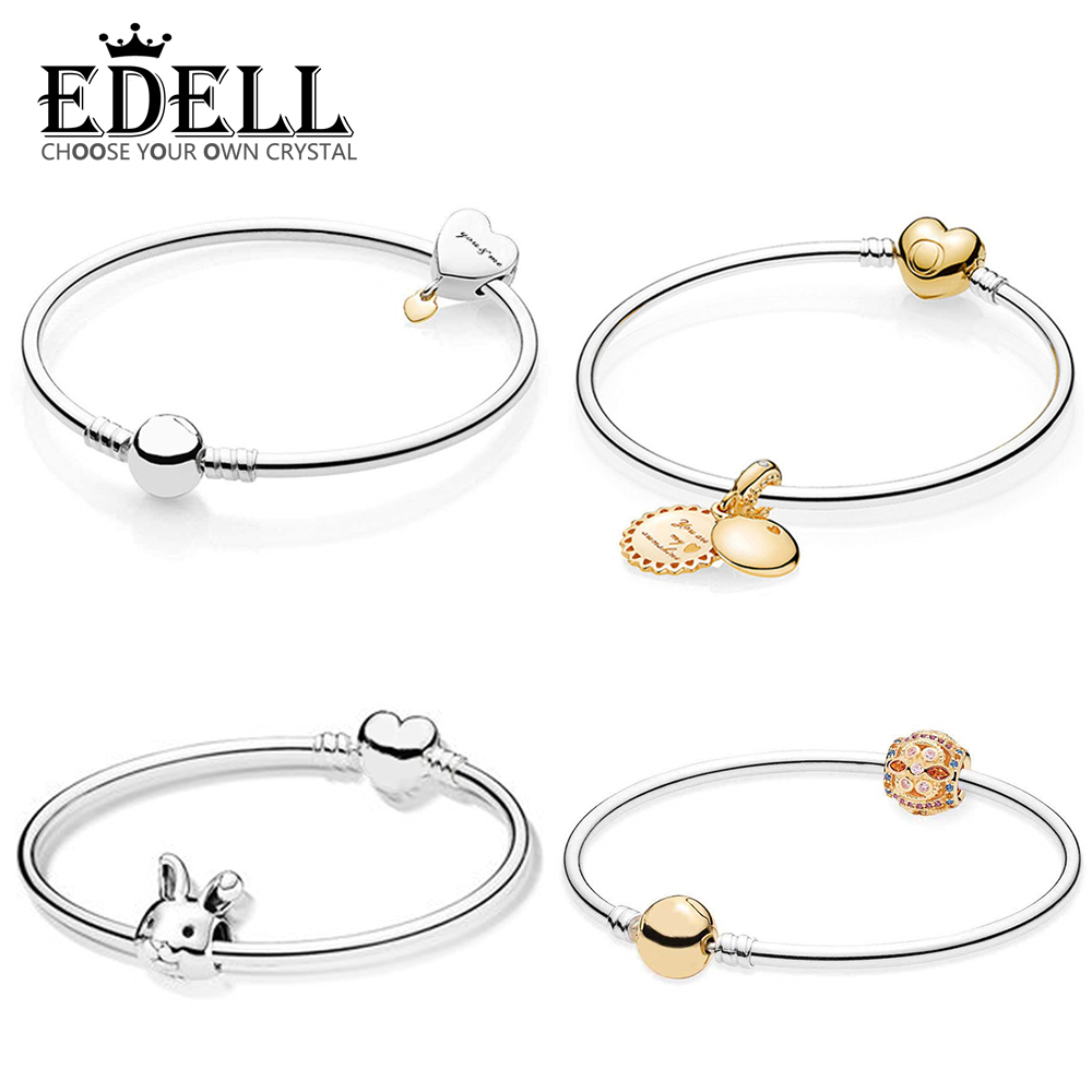EDELL 100% 925 Sterling Silver SHINE SUNSHINE HANGING GOLD COLOUR FRESCO Bead Twee Harten Rabbit Charm Heart Shape Bangle SetEDELL 100% 925 Sterling Silver SHINE SUNSHINE HANGING GOLD COLOUR FRESCO Bead Twee Harten Rabbit Charm Heart Shape Bangle Set