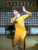 Bruce Lee Classic Yellow Kung Fu Uniforms Cosplay JKD Jeet Kune Do Death Game nunchaku Bruce Costume