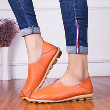 Hot 2019 New Women Flat Shoes Leathers Fashion Sneakers Ballets Flats Casual Oxford Woman Shallow Slip-on Plus Size 35-43