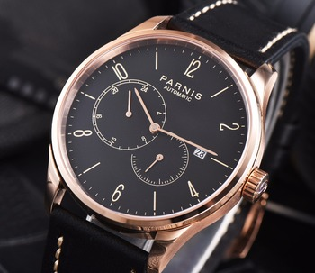 2017 Hot Sale Parnis Brands Bussiness Watch Men Leather Men's Mechanical Watches Automatic Auto Date Miyota Movement