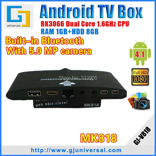 New Arrive MK818 camera bluetooth android mini pc Dual core RK3066 mini pc  Android smart tv box android 4 2 Freeshipping
