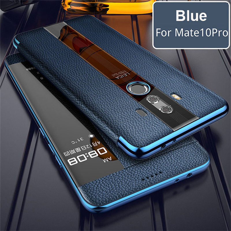 For Huawei Mate 10 Pro 9 pro Genuine leather case Phone protection windows view true flip leather case cover for huawei mate 10-in Flip Cases from Cellphones & Telecommunications