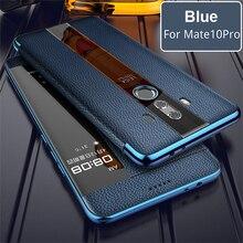 Huawei mate 10 プロ 9 プロのための本革ケース電話保護 windows 真フリップ革ケースカバーのための huawei mate 10