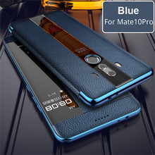 עבור huawei mate 10 פרו 9 פרו אמיתי עור מקרה טלפון הגנה windows צפה אמיתי flip עור case כיסוי עבור huawei mate 10