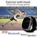 Para homens do esporte bluetooth speaker b90 chamada hands-free tocando música fm radio control self-temporizador falantes sem fio + exibição de tempo levou