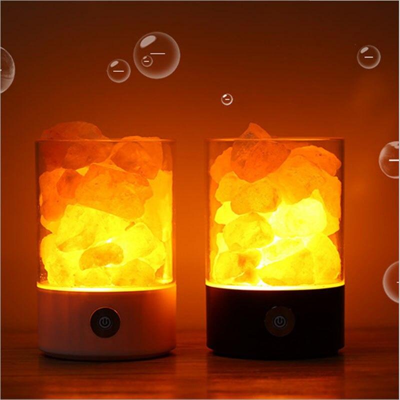 Lava Lamps Himalayan Salt Lamp Crystal Salt Stone Air Purification Salt Lamps Promote Sleep Bedroom LED Night Lights