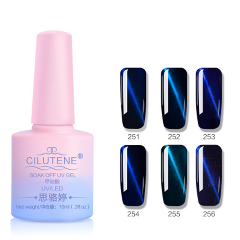 Hologram Gel Nail Polish: Follome Nail Gel Holographic Blue Cat Eye Nail Gel Polish