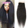 Peruvian Hair Kinky Straight Closure 4x4 Remy Human Hair Top Lace Closure Coarse Yaki Free Middle 3 Part Lace Frontal Closures