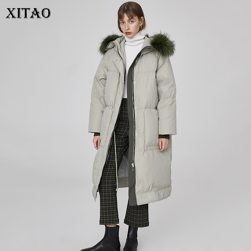 [XITAO] 2018 Winter New Women Europe Fashion Wide-waisted White Duck   Down   Full Sleeve Long Thick Casual   Down     Coat   ZLL2604