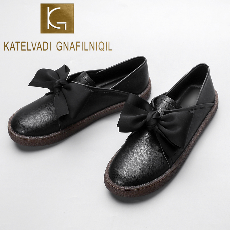 KATELVADI Women Shoes Black PU Casual Flats Nurse Moccasins Slip On Fashion Woman Loafers K-459