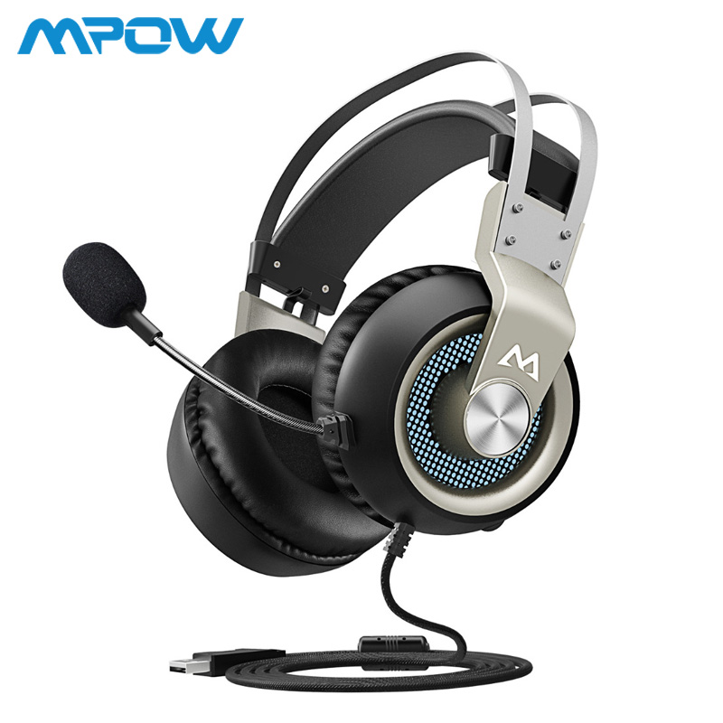 Mpow EG3 Wired Gaming Headphones 2.2m/7.2ft Cable 360 Degree Microphone Game Headset USB 7.1 Surround Sound For PS4 Mac Computer