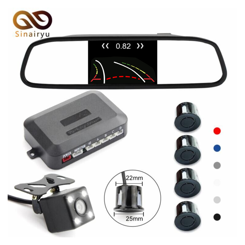 Sinairyu 3in1 4.3 Car Video Parking Mirror Monitor Video Parking Sensor Intelligent Dynamic Trajectory Tracks Rear View Camera sinairyu intelligent dynamic trajectory tracks rear view camera for benz e w212 c207 w207 e200 e260 e300 auto parking assistance