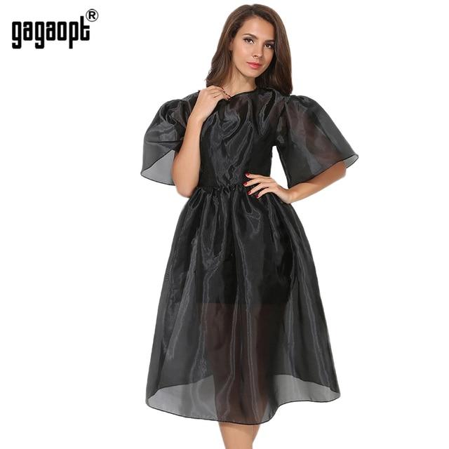 Gagaopt 2017 лето dress женщины kattern рукавом винтаж бальное платье длинные платья черный 2 шт. шикарные платья партии vestidos