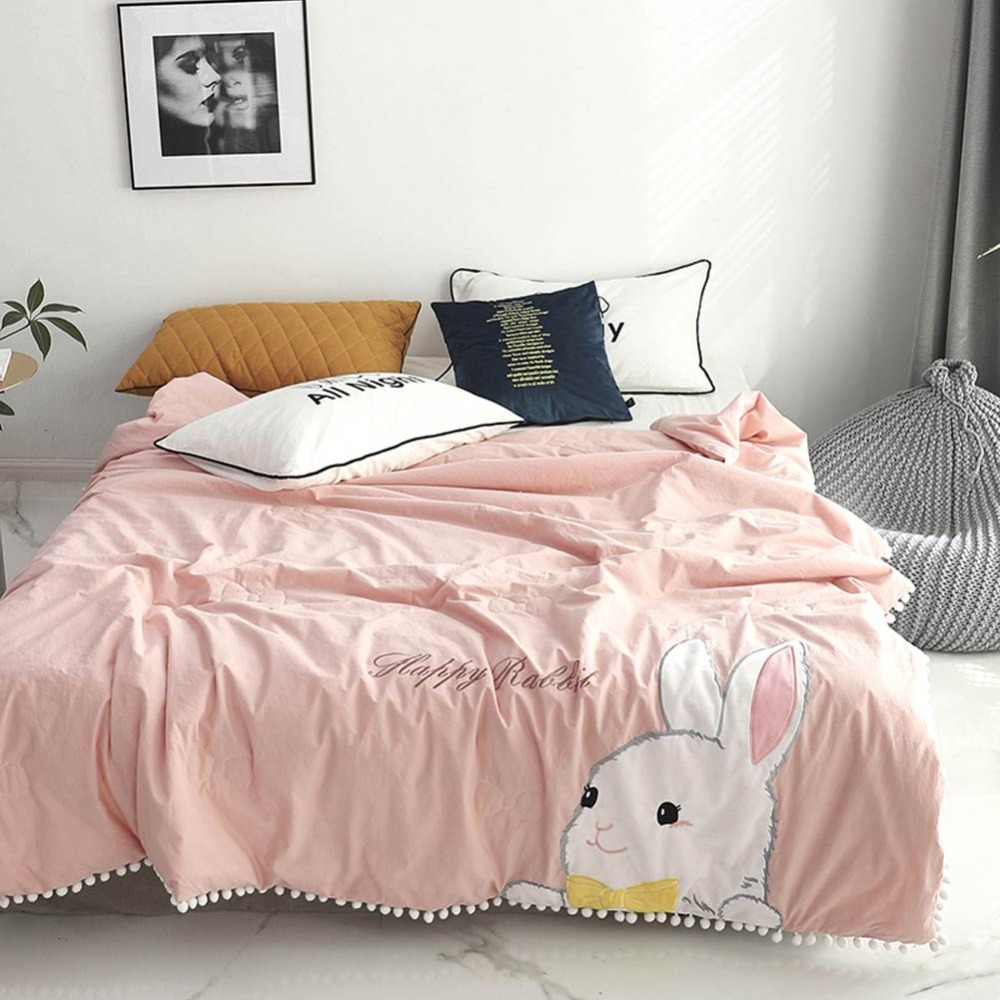 2019 Cartoon Rabbit Pink Thin Summer Quilt Air-condition Embroidery Comforter Washed Cotton Fabric Polyester Queen Size2019 Cartoon Rabbit Pink Thin Summer Quilt Air-condition Embroidery Comforter Washed Cotton Fabric Polyester Queen Size
