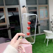 Cute 3D love heart phone case For iphone 6 6s 7 8 Plus for X XS Max XR Ultra thin clear tpu back cover