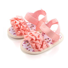 Fashion Flower Baby Sandals Canvas Hook & Loop Princess Shoes Soft Sole Open Toe Summer Newborn Girl Wholesale