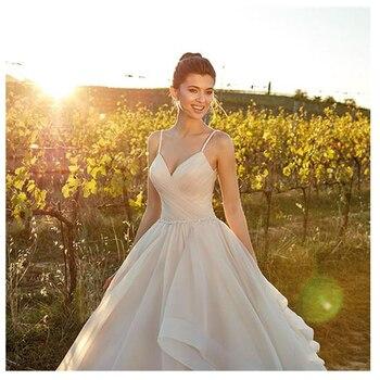 LORIE Beach Wedding Dresses Spaghetti Strap Champagne A Line Tulle Backless Princess Long Wedding Gown Boho Bride Dress 2019