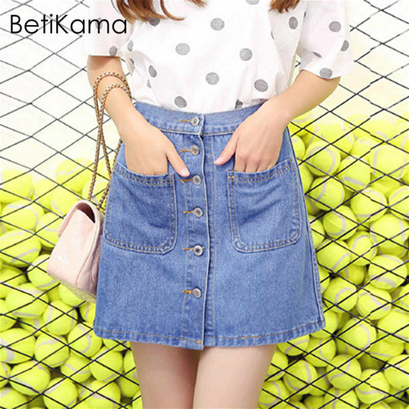 21ddfe79d11116 BetiKama Womens Summer Denim Skirts Solid Cotton Casual Fashion High Waist  Mini Short Jeans Skirt Students