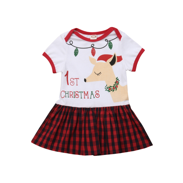 toddler kids baby girl 1st christmas dress deer print plaid patchwork knee length a