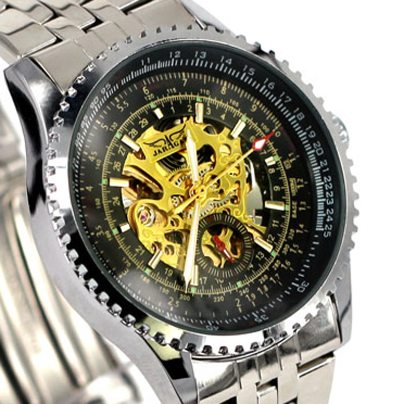 New luxury Man Mechanical skeleton Watch Winner Automatic Self Wind Male Wristwatch JARGAR 2016 Hot Fashion