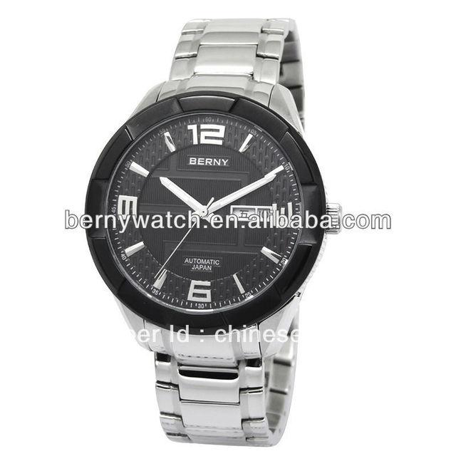 Automatic mechanical wrist fashion watch for men, stainless steel watch, waterproof watch, free shipping watch,AM001M-BLK-A