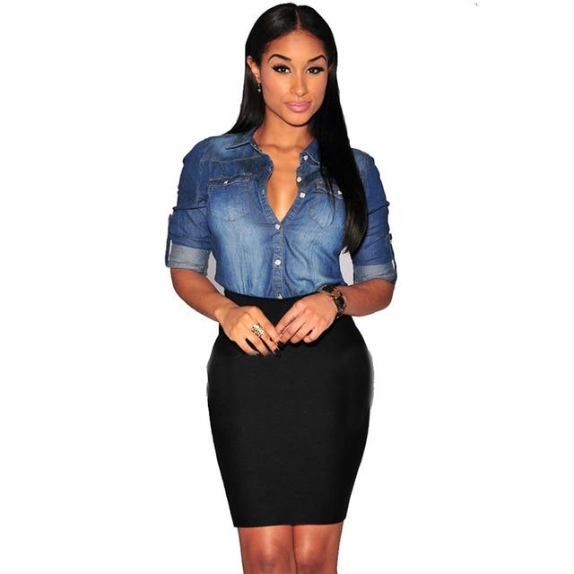 843a667f1ec Femmes-Chambray-Shirt-Top-denim -Chemises-et-Blouses-Manches-Longues-Bouton-Pression-Dames-Chemise-Camisa-Blusa.jpg 640x640.jpg