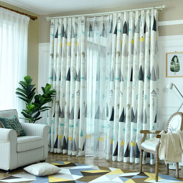Forrest Life Curtaor Kids Room Living Room Village/Tree/House Print Bedroom Window Curtain Children Curtain