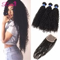 Peruvian Curly Hair With Closure Unprocessed 8A Peruvian Virgin Hair With Closure 3Bundles Kinky Curly Virgin Hair With Closure