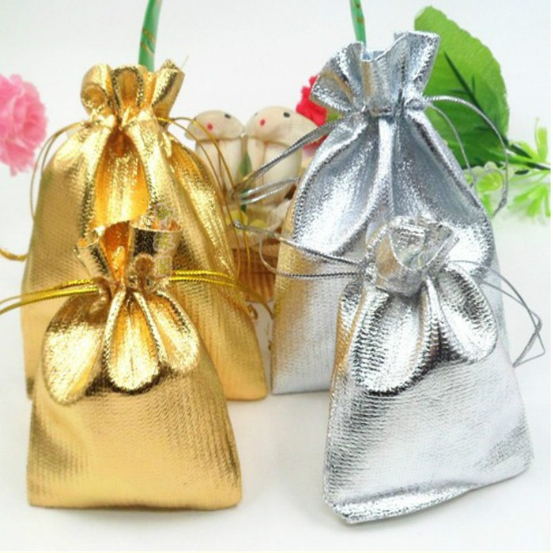 10pcs 7X9cm 9x12cm Drawstring Jewelry Bags Candy Cookies Packing Bag Metallic Foil Organza Pouch Gift Bag Wedding Party Supply