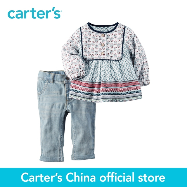 Картера 2 шт. детские дети дети 2-х Частей Туника & Жан Набор 127G171, продавец картера Китай официальный магазин
