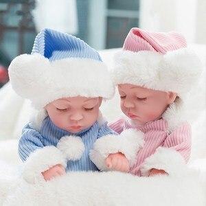 10'' Mini Reborn Babies Girl Boy Full Silicone Vinyl Cute Twins Bebe Dolls Lifelike Bebes Reborns for Toddler Bathing Doll 26cm(China)
