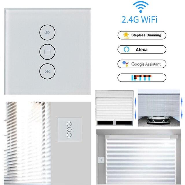 Wifi タッチカーテンスイッチ壁スイッチ音声制御による Alexa/Google の電話制御電動カーテンモータースマートホーム EU/米国