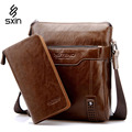 Trend Shoulder Bag Vertical Men's Business Casual Leather Shoulder Bag Messenger Bag Portable Briefcase Clutch Purse D018-1