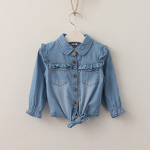 2017 Baby Girls Denim Ruffles Shirts Kids Girls Fashion Wash Blue Blouse Babies Autumn Casual Tops childrens clothing
