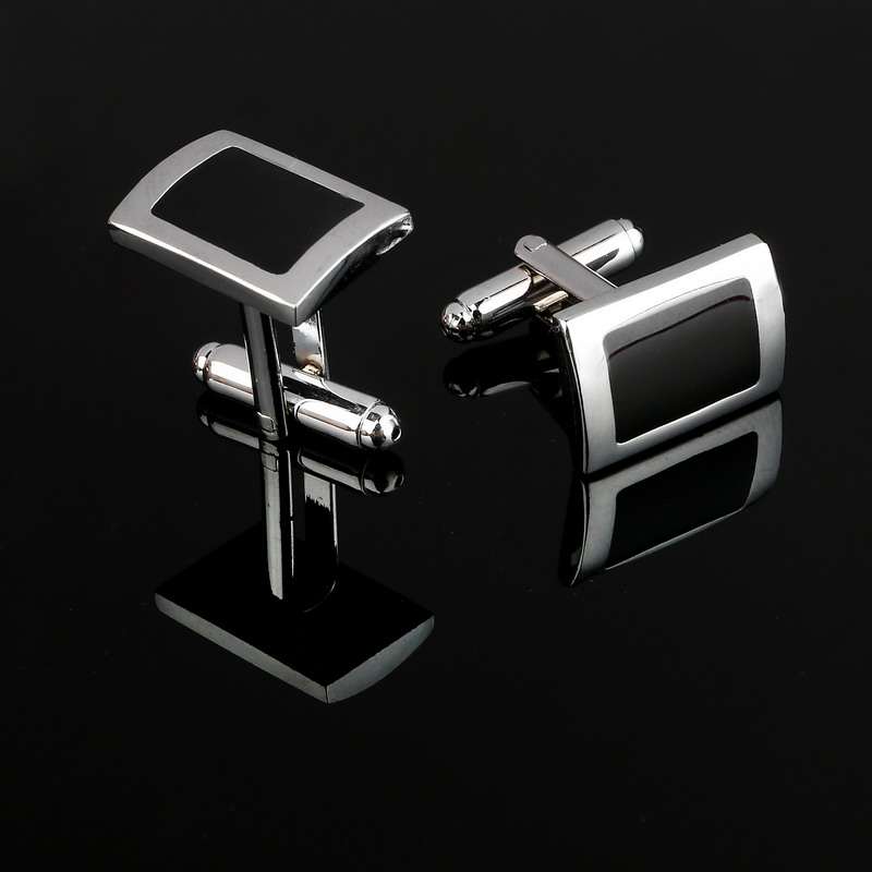 Buy 2016 new simple style black rectangle for Mens shirts with cufflinks