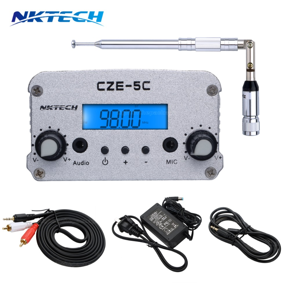 NKTECH 5W/7W 76-108MHZ Amplifiers Stereo PLL FM Transmitter Broadcast Radio Station dac CEZ-5C+Adapter+Metal Antenna+Cable cze 7c 7watt stereo lcd broadcast radio station fm transmitter 12v adapter antenna cable